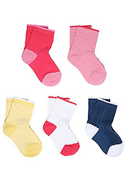 F&F 5 Pair Pack of Scallop Edge Ankle Socks - Multi