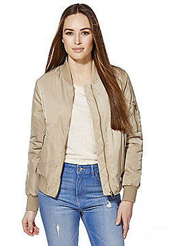 F&F Faux Fur Lined Bomber Jacket - Champagne