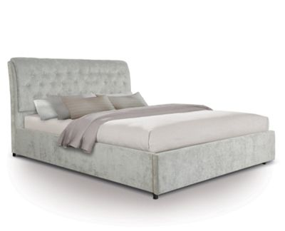 Extra Padded Buttoned Fabric Front Draw Bed - Double - Light Grey
