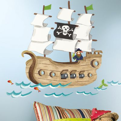 Childrens Large Wall Stickers - Pirate Ship
