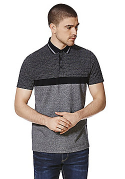 F&F Block Stripe Polo Shirt - Black