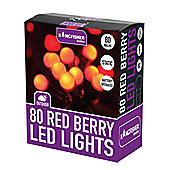 80 LED Festive Red Berry Christmas Xmas Static Lights - Indoors or Outdoors