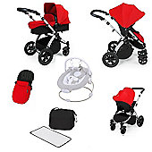 ickle bubba Stomp V2 AIO with Safety Mosquito Net with Travel System - Black (Silver Chassis)