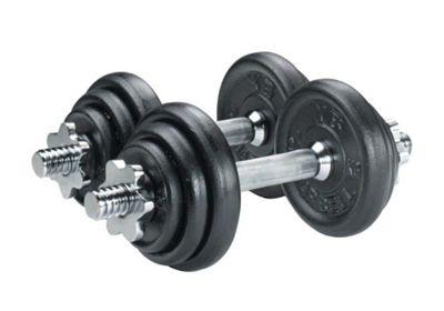 York Fitness 20kg Dumbell Cast Iron Set in Case