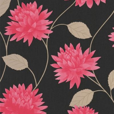 Superfresco Easy Romance Paste The Wall Floral Black/Pink Wallpaper