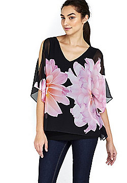 Wallis Floral Overlayer Cold Shoulder Top - Black
