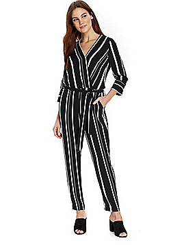 Wallis Striped Wrap Front Jumpsuit - Black & White
