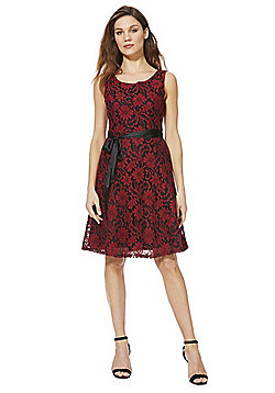 Solo Damask Lace Sleeveless Dress with Belt - Red