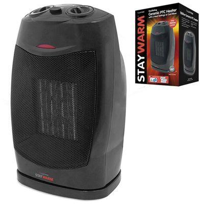 Lloytron F2202BK 1500w Oscillating PTC Electric Oscillating Ceramic Heater Black