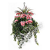 "Artificial Pink Geranium, Green Yucca and Mixed Ivy Display in a 10"" Round Willow Hanging Basket"