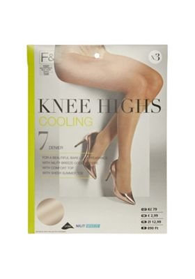 F&F 3 Pair Pack of Cooling 7 Denier Knee Highs Natural One Size