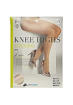 F&F 3 Pair Pack of Cooling 7 Denier Knee Highs - Natural