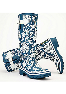 Evercreatures Ladies Delft Wellies Blue With Floral Pattern 3