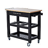 Homcom Wooden Trolley Kitchen Cart Dining Serving Worktop w/ 2 Metal Baskets & Condiment and Knife Rack