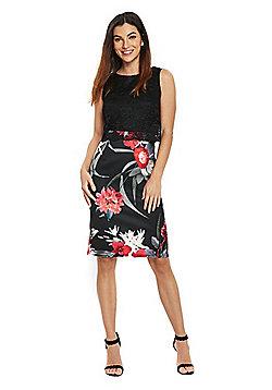 Wallis Floral Lace Dress - Black