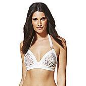 F&F Luxury Swimwear Padded Triangle Bikini Top - Cream & Beige