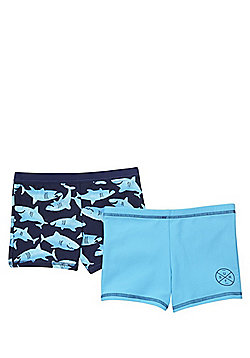 F&F 2 Pack of Plain and Shark Print Swimming Trunks - Blue & Multi