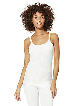 F&F Pointelle Thermal Camisole - Cream