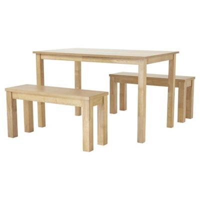 Claydon Dining Table and 2 Bench Set, Oak-effect
