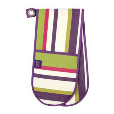 Rushbrookes Regatta Double Oven Glove, Purple Stripe