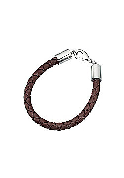 Mens Brown Plaited Leather Steel Clasp Bracelet - 8.5""