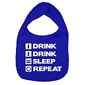 Dirty Fingers Drink Drink Sleep Repeat Baby Bib Royal Blue