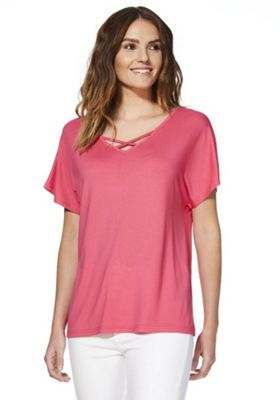 F&F Cross-Front Jersey Top Pink 14