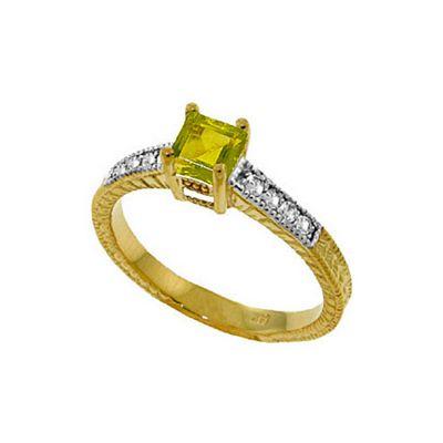 QP Jewellers Diamond & Peridot Ornate Gemstone Ring in 14K Gold - Size H 1/2