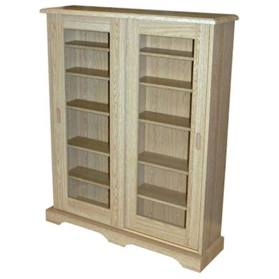 432 CD or 216 DVD Blu-ray Media Storage Cabinet - Oak