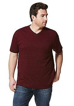 Jacamo V-Neck T-Shirt - Burgundy
