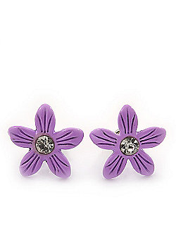 Children's Pretty Lavender Enamel 'Daisy' Stud Earrings - 13mm Diameter
