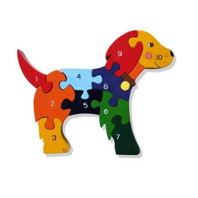 Handmade in Ireland Traditional Wooden Puzzle: Number Dog
