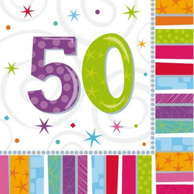 50th Birthday Radiant Luncheon Napkins - 2ply Paper - 16 Pack