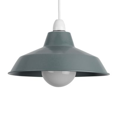 Colby Retro Style Metal Ceiling Light Shade, Metallic Silver
