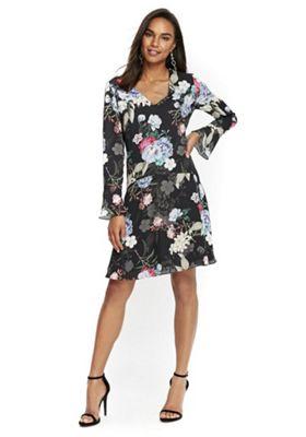 Wallis Dropped Waist Floral Dress 10 Black & Multi
