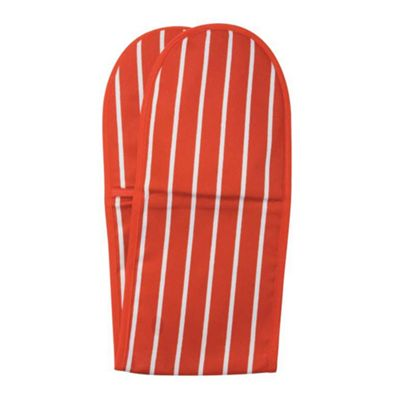 Rushbrookes Butchers Stripe Double Oven Glove, Red