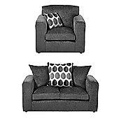 Whitton Armchair + 2 Seater Sofa Set, Dark Grey