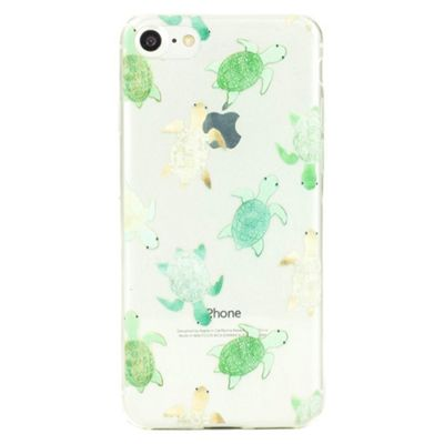 iPhone 8 Cute Turtle Pattern Clear Silicone Case - Multi