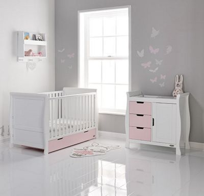 Obaby Stamford 2 Piece Cot Bed Nursery Room Set - White with Eton Mess (Pink)