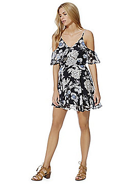 AX Paris Floral Ruffle Cold Shoulder Dress - Navy
