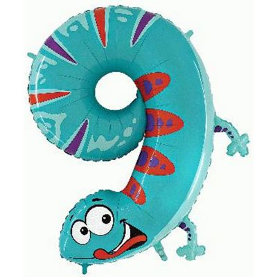 Gecko Number 9 Balloon - 40 inch Zooloon Foil