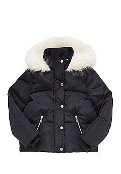 F&F Faux Fur Trim Hooded Puffer Jacket - Navy