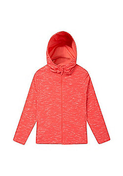 Zakti Girls Cotton Blend Kids Revive Full-Zip Isocool Hoodie in Slim Fit - Coral