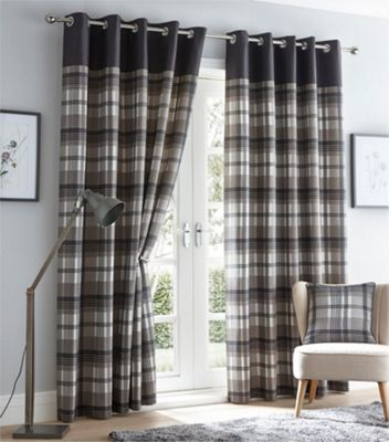 Orleans Charcoal Grey Eyelet Curtains - 66 X 72