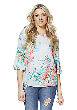 F&F Floral Print Bell Sleeve Top - Multi