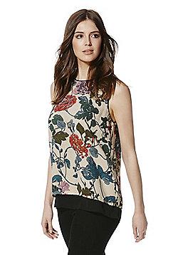 Vero Moda Floral Split Back Sleeveless Blouse - Multi