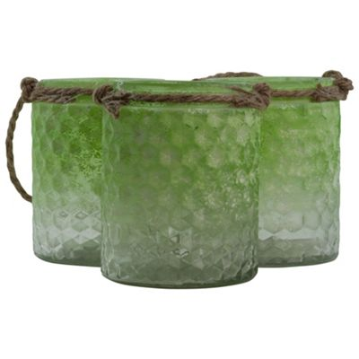 Set of 3 Half-Green Frosted Glass & Jute Tealight Candle Holders or Vases