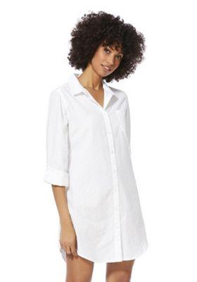 F&F Dobby Spot Woven Nightshirt White 8-10