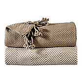 EHC Pack Of 2 Cotton Chevron Throw, Beige