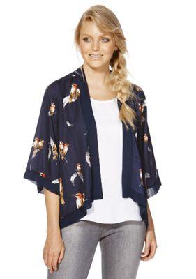 Mela London Bird and Feather Print Kimono L Blue